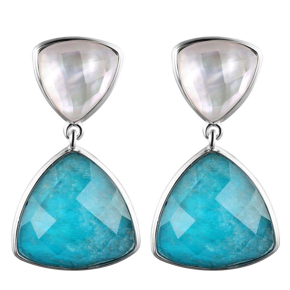 DORMITH real 925 sterling silver earrings luxury natural blue Apatite and mother pearl drop earrings for