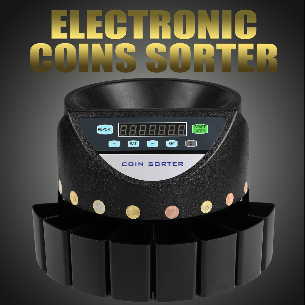 Automatic Euro Coin Counter Sorter 45W Electronic EUR Coin Counting Machine