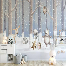 Children's room snow scene cartoon background wall professional production mural wholesale wallpaper mural poster photo wall snow scene black and white art fashion tv background professional production wallpaper mural custom photo wallpaper