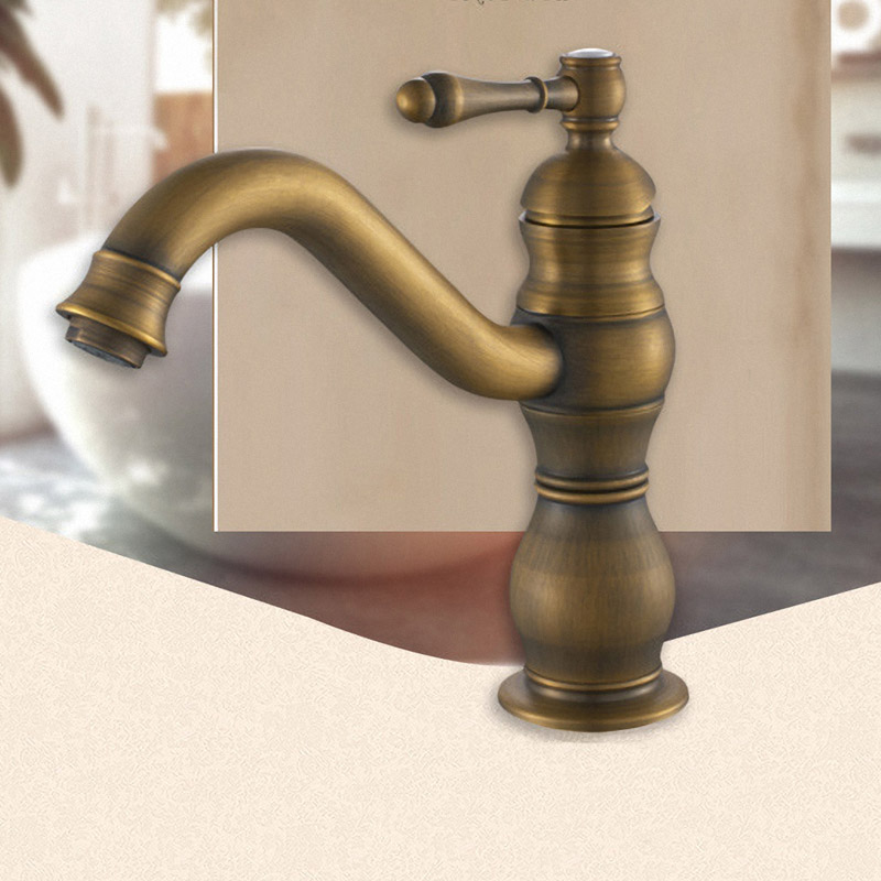 Bathroom Faucet, Solid Brass, Heavey Duty, European Style, Antique Brass, Vessel Sink Faucet, Low Arc, One Handle Lever, 2020F0 new vintage style antique brass bathroom vessel sink drain basin push down pop up drain with overflow solid brass 4310
