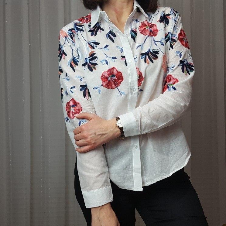 Sheinside Белый Вышивка Рубашка с длинными рукавами цветочный топ на пуговицах 2018 Весна Для женщин офисные Повседневная обувь Элегантная блузка