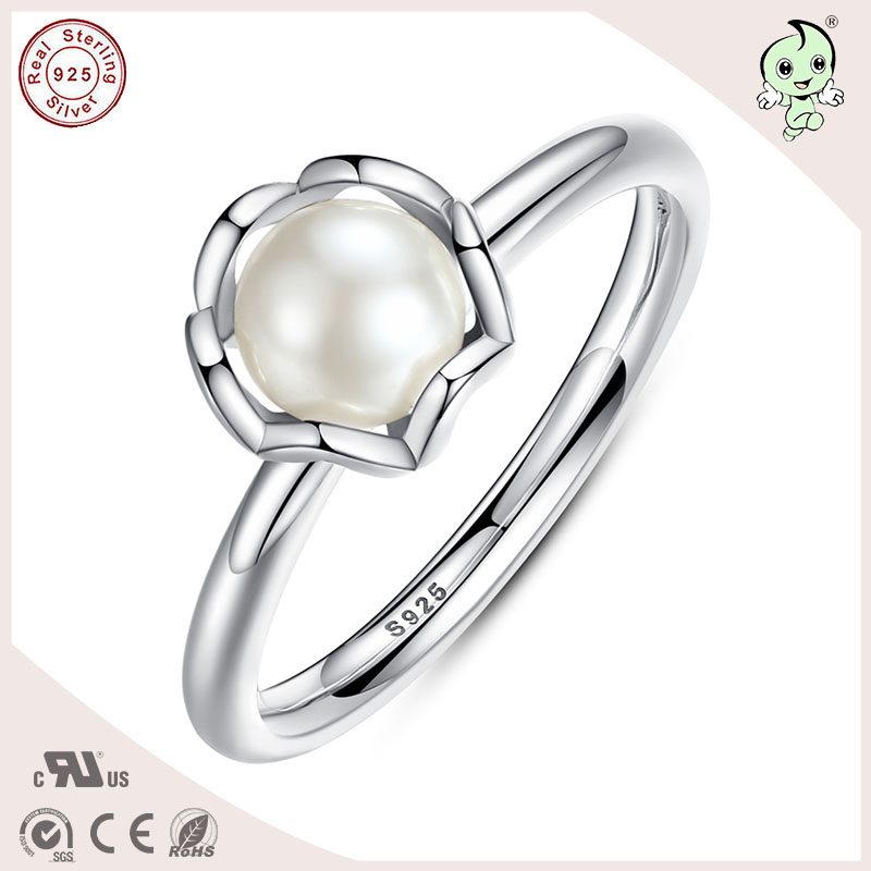 P&R products Good Quality Pearl S925 Sterling Silver Rose Ring For Ladies for women