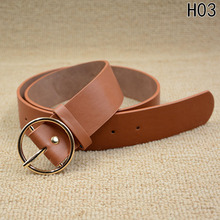 Hot Sale Gold Round Buckle Belts Female Leisure Jeans Belt Pin Metal Buckle Brown PU Leather