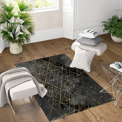 Else Black Floor Golden Yellow Lines Geometric 3d Print Non Slip Microfiber Living Room Decorative Modern Washable Area Rug Mat