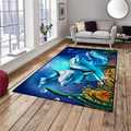 Altro Blu Sotto Il Mare Delfini Pesci 3d Modello di Stampa Antiscivolo In Microfibra Soggiorno Decorativa Moderna Lavabile Zona Tappetini Zerbino