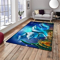 Else Blue Under Sea Dolphins Fishes 3d Pattern Print Non Slip Microfiber Living Room Decorative Modern Washable Area Rug Mat