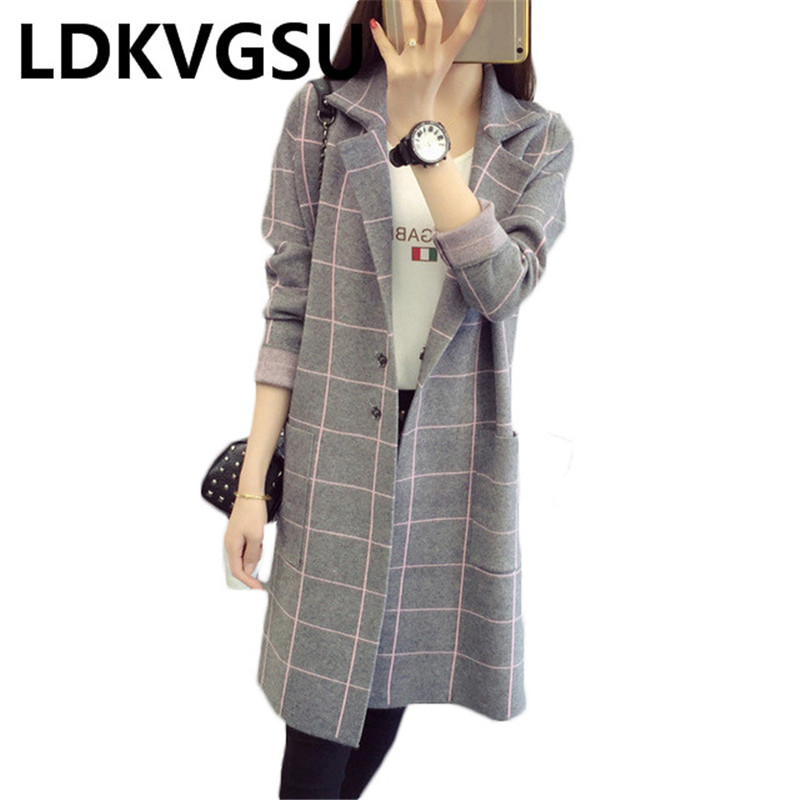 High Quality Spring Autumn 2018 New Women Knitting Cardigan Lattice Long   Trench   Coat Female Cardigan Sweater Large Size Is135