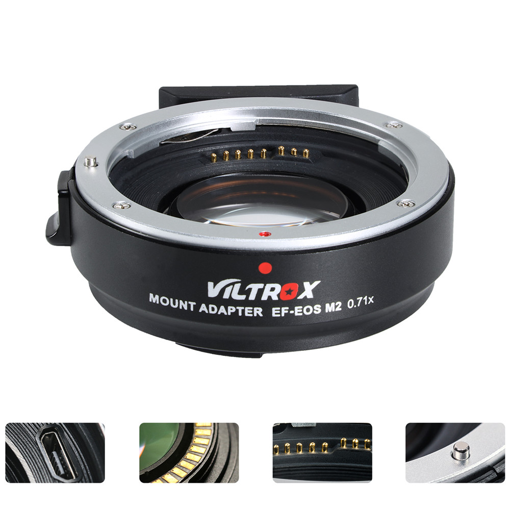 Viltrox EF-EOS M2 Réducteur de Focale Booster Adaptateur Auto-focus 0.71x pour Canon EF monture à EOSM caméra M6 m3 M5 M10 M100 M50