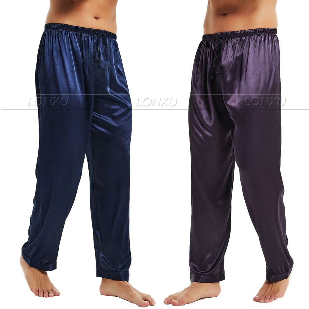 Mens Silk Satin Pajamas Pyjamas Pants Lounge Pants  Sleep Bottoms Free  Shipping  S M L XL 2XL 3XL 4XL Plus