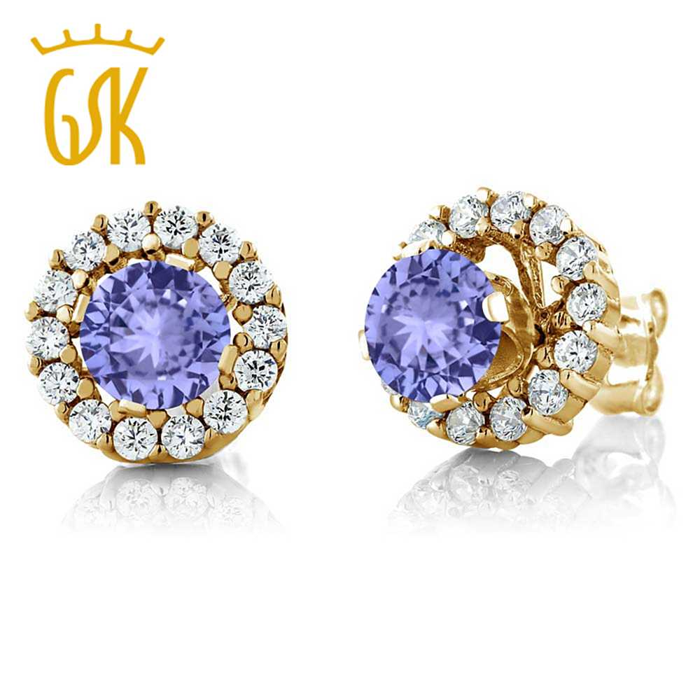 Gemstoneking 131 Ct Round Natural Blue Tanzanite Earrings For Women 925  Silver Yellow Gold Plated Studs