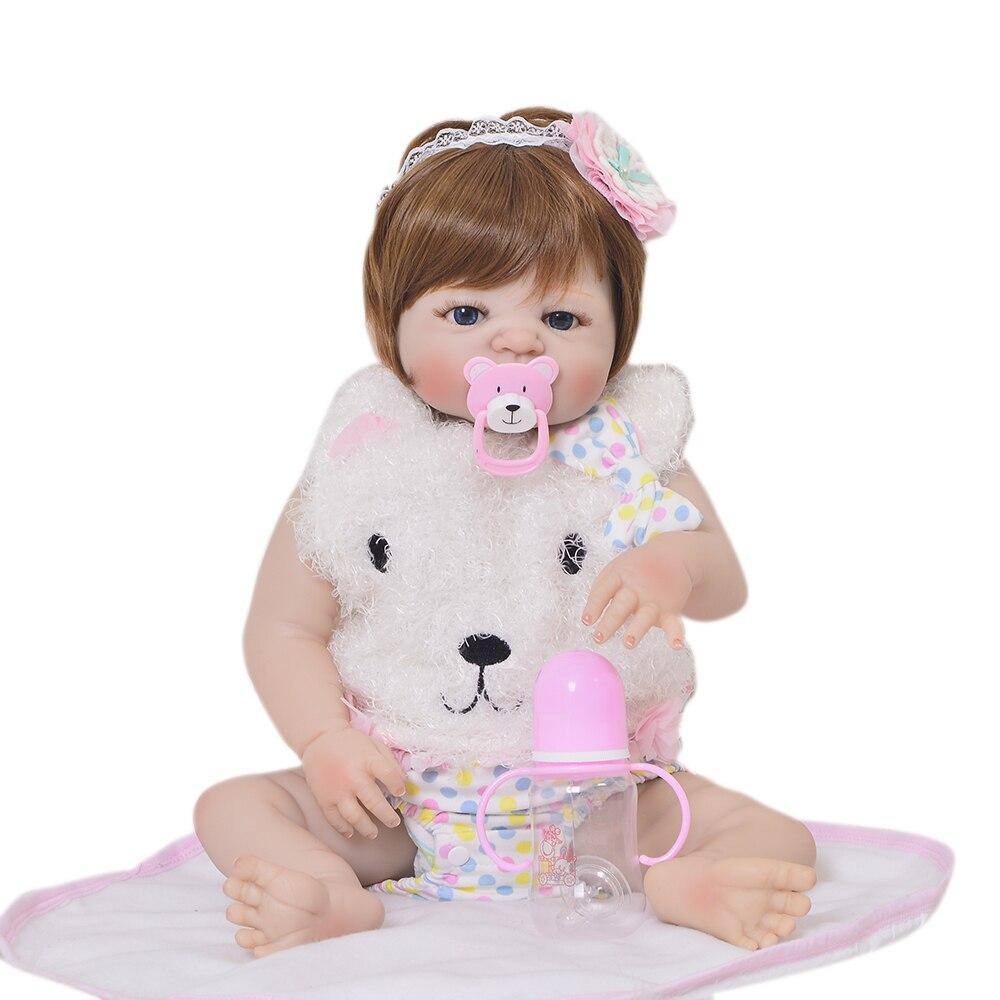 KEIUMI 23 дюймов для новорожденных, для девочек куклы Полный Силиконовые Винил Bebe Reborn реалистичные принцессы Детская игрушка Рождественский по...