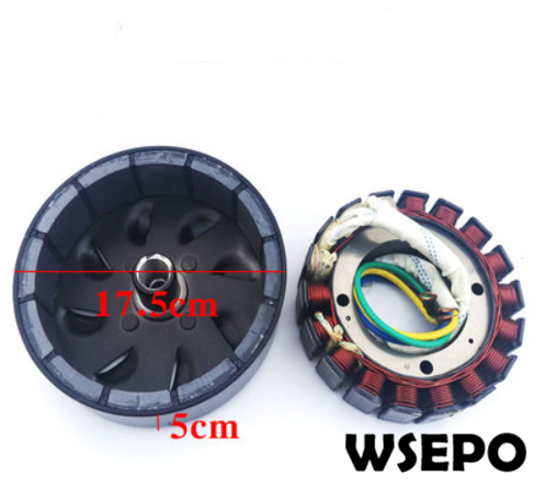 3000 Watt 18 Pole Voltage Customized(48V/60V/72V) Stator and Rotor Kit for DC Generator fits on 19mm tapered 41mm output shaft3000 Watt 18 Pole Voltage Customized(48V/60V/72V) Stator and Rotor Kit for DC Generator fits on 19mm tapered 41mm output shaft