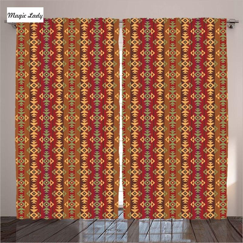 Curtains For Living Room Bedroom Decor Native American Geometric Ethnic Art Orange Brown Beige