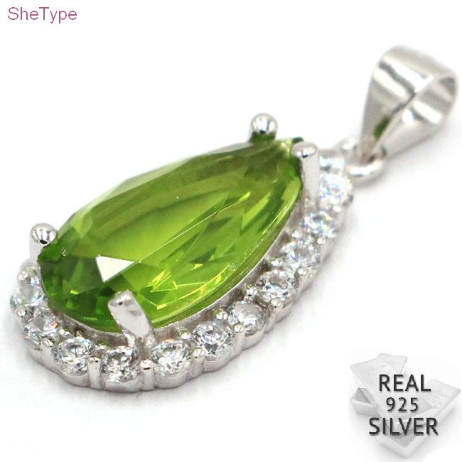 SheType Drop Water 3.14g Green Peridot CZ Gift For Girls 925 Solid Sterling Silver Pendant 21x12mm