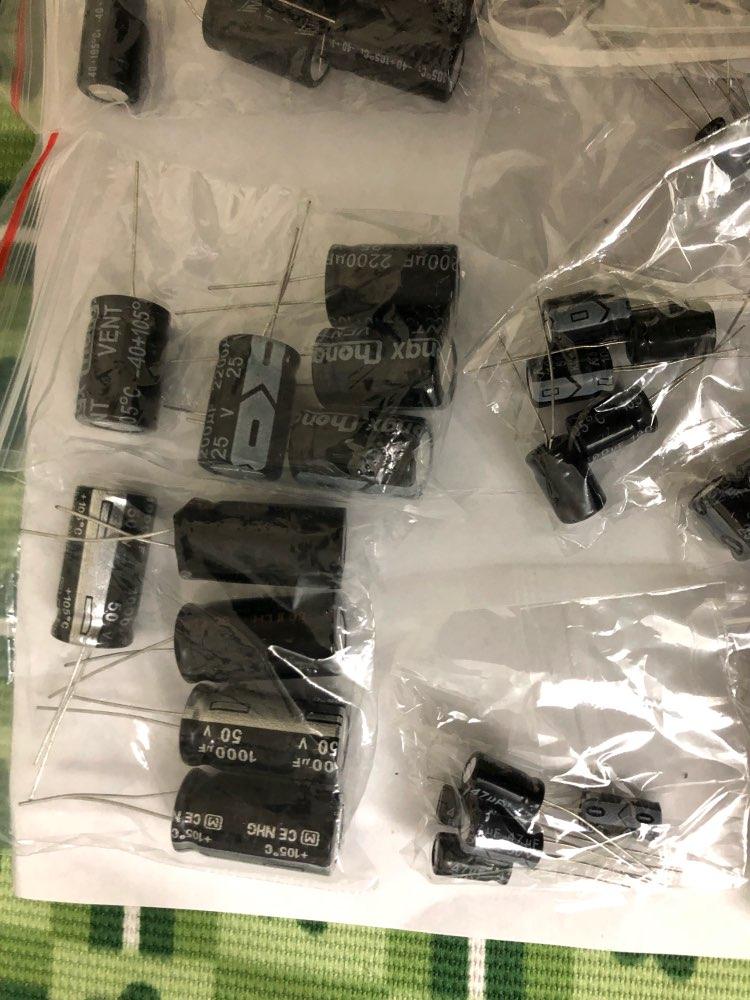 Total 125 Pcs 1uF-2200uF 25V/50V 25Valuesx5Pcs Electrolytic Capacitors Assortment Kit Assorted Set