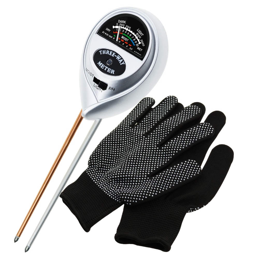 Lawn pH//Light Meter Plant Tester,Farm Indoor /& Outdoor No Battery Needed Herbs /& Gardening Tools, Soil Tester,Soil pH Meter 3-in-1 Soil Test Kit for Moisture with FREE GLOVES