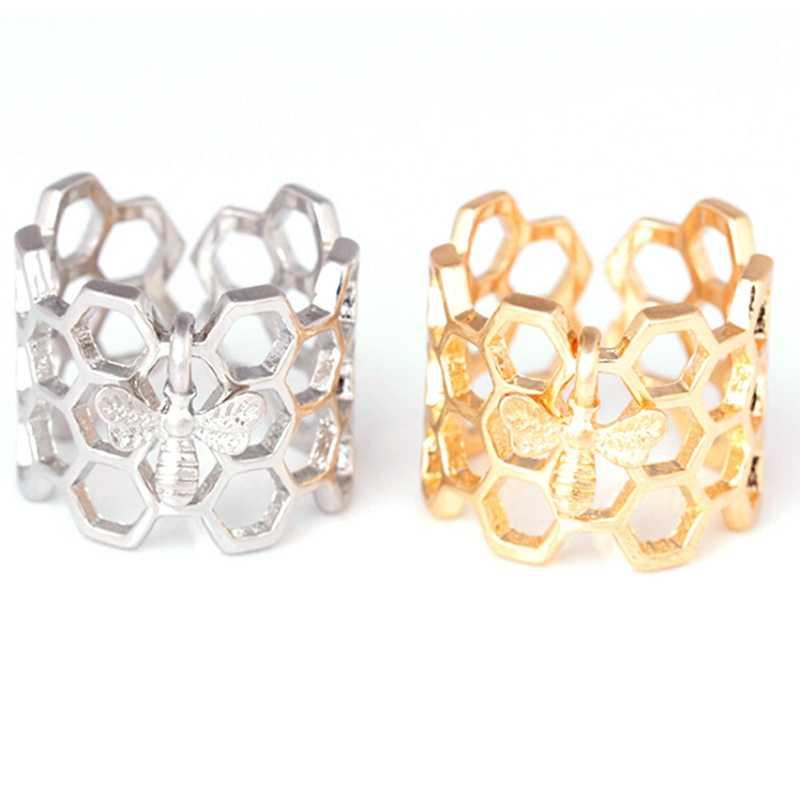 蜂アジャスタブルオープンリング六角ステンレス鋼レディース指輪ゴールドカラーハニカムユニークなギフト用女性パーティージュエリーバゲファム