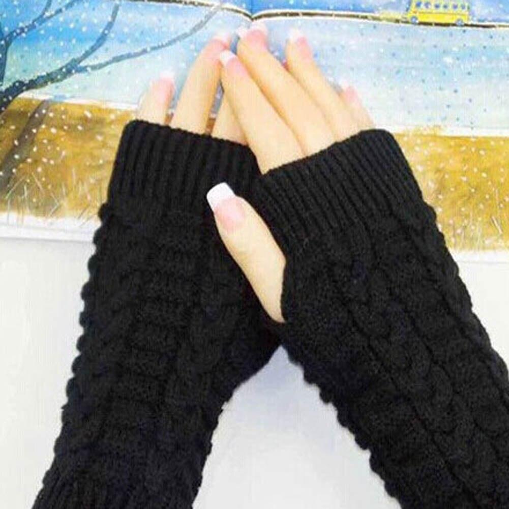 Fashion Winter Women Knitted Fingerless Winter Gloves Soft Warm Mitten Solid