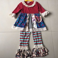 2017 Christmas Lace Ruffle Smart Baby Girls Sets Cute Clothing Fashion Vestidos Infant Clothes Boutique Hot Sale Apparel