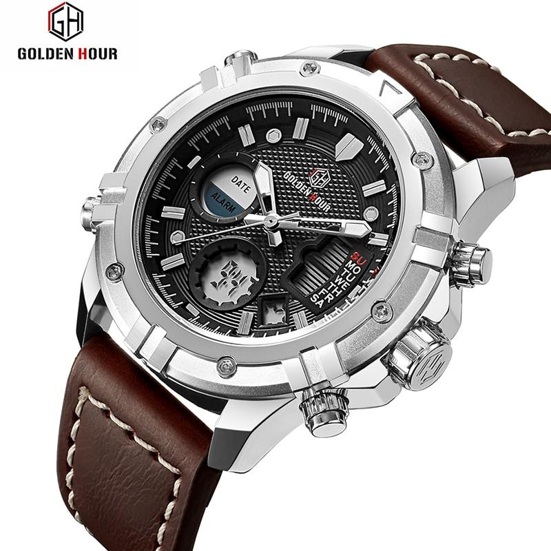 Fashion LED Sport Men Watch Chronograph Casual Watch Men Luxury Brand Digital Military Watch Genuine Leather Men's Wristwatch стоимость