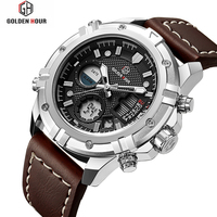 Fashion LED Sport Men Watch Chronograph Casual Watch Men Luxury Brand Digital Military Watch Genuine Leather Men's Wristwatch