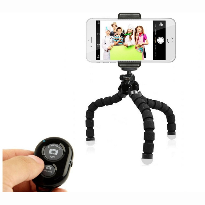 Octopus Style Tripod Stand Holder Selfie Stick 2 in 1 with Universal Clip Remote Controller Tripods Bundle for IOS Android Phone universal android ios phone folding extendable selfie stick auto selfie stick tripod clip holder bluetooth remote controller set