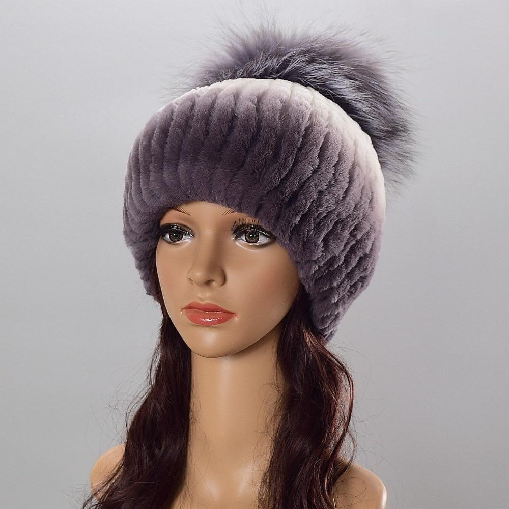 Female fur hat for Women Warm Genuine Fur Hats Rex Rabbit Winter Fur Caps Female Quality Casual Beanies Fur Cap Knitted Hats cap цена 2017