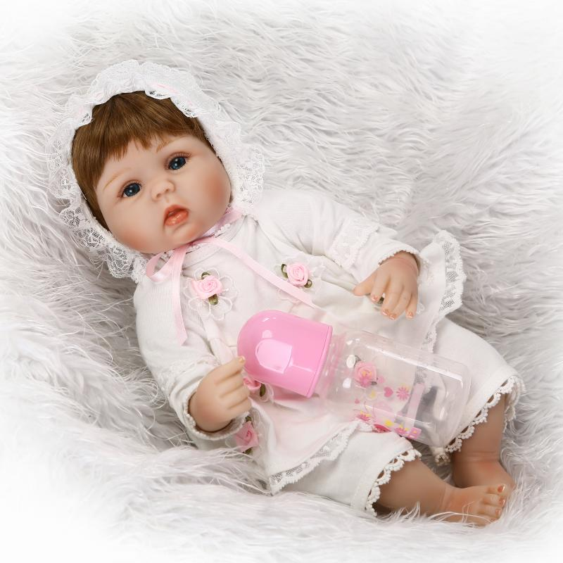NPKDOLL COLLECTION Doll Reborn 40 CM Silicone Reborn Baby Doll 16 Inches Lovely Girl Doll With Princess Dress Gift For Child Toy