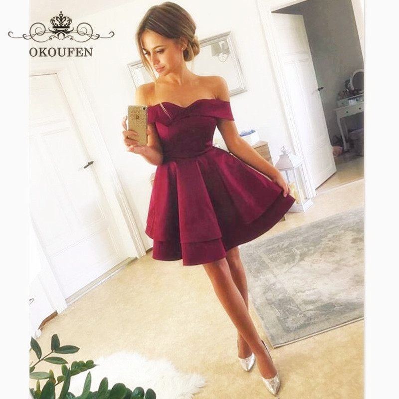 Under 100 Cheap Short Mini Bridesmaid Dresses Pleat A Line 2018 Burgundy Satin Sexy Off Shoulder Party Dress For Women
