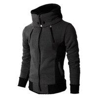 New Fashion Hoodies Men Sudaderas Hombre Solid Hooded Harness Hoodie Cardigan Sweatshirt Slim Fit Men Hoodie