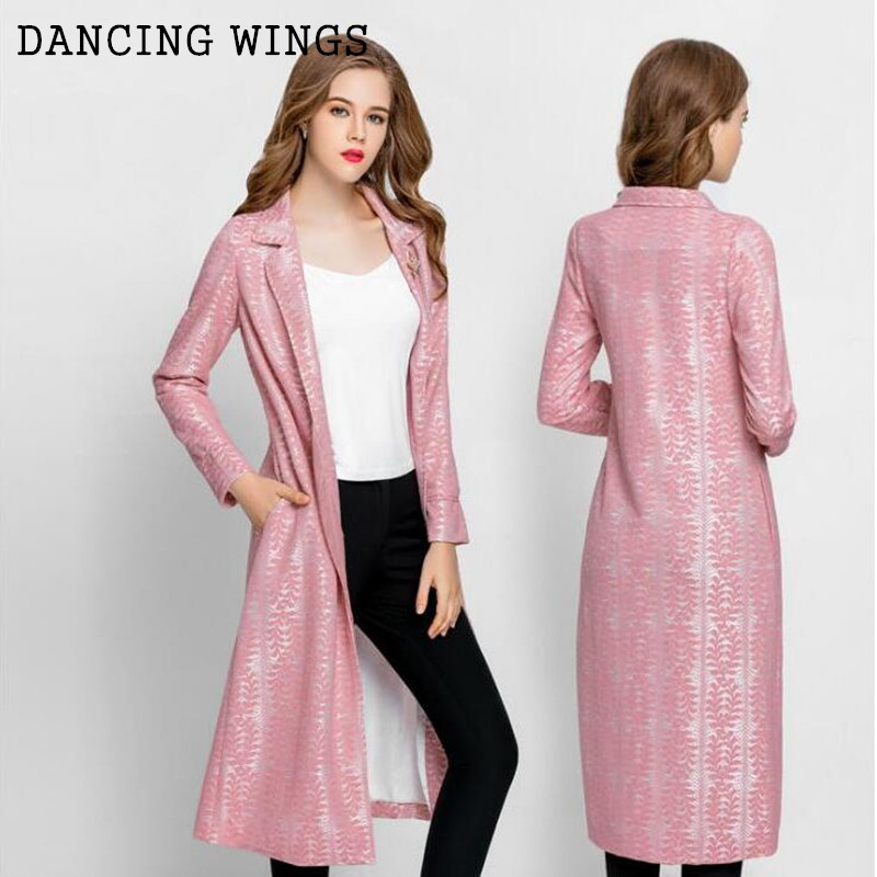 Limited Edition Women Long Lace Trench Coat Elegant Slim Spring Autumn Outwear Windbreaker Pink/Grey