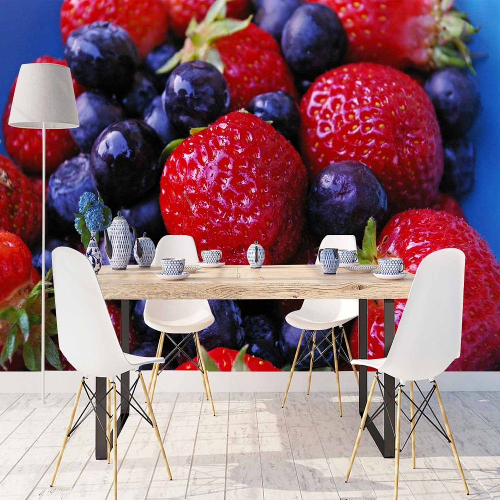 Else Fruits Red Strawberry Navy Blue Plum 3d Print Photo Cleanable Fabric Mural Home Decor Kitchen Background Wallpaper