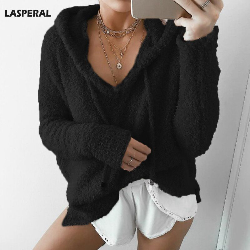 LASPERAL Fashion Drawstring Knitted Sweater Solid Hooded Cropped Women Autumn Winter Pullover Sweaters Casual Streetwear Cloth