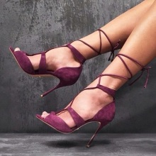 Summer Sexy Burgundy Suede Ankle Strap Women Sandals Cut-out Peep Toe Lace-up Shoes Thin Heels Gladiator