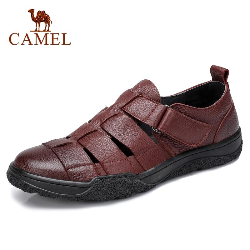 Camello de cuero genuino de los hombres sandalias de verano huecos zapatos de los hombres de negocios de pie cómodo y transpirable al aire libre zapatos casuales zapatos de los hombres-in Sandalias de hombre from zapatos    1