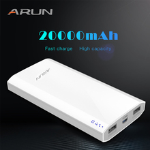 ARUN 20000 mAh Power Bank External Battery 2 USB Multi-function Portable Mobile Phone Charger for Xiaomi mi iphone XS 8plus