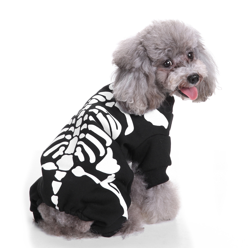 Fashion Puppy Pet Pullover Sweater Skeletons Print Dog Apparel Hallowmas Clothes