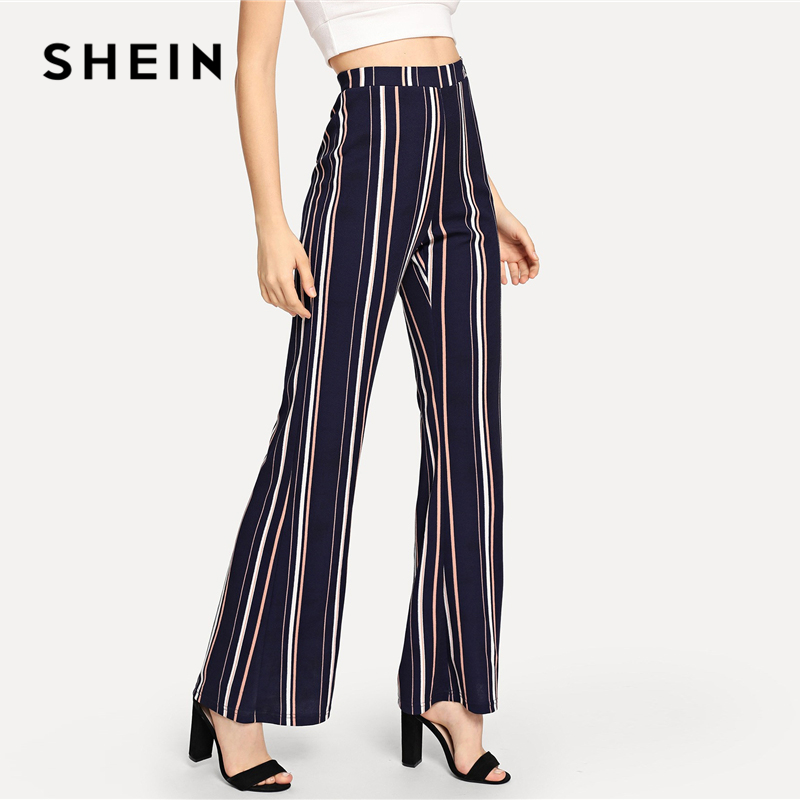 0378fb28e1 SHEIN Navy Office Lady Highstreet Striped Elastic Waist Flare Leg Elegant  Pants 2018 New Autumn Women Workwear Trousers-in Pants & Capris from Women's  ...