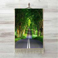 Else Green Jungle Brown Trees on Highway Road Way 3D Print Decorative Gift Wall Art Rope Hanging Rug Carpet Tasseled Tapestry