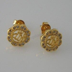 Image 2 - Минимальный заказ 10 $ можно смешивать/3 стиля милые мусульманские Бог цветок растение форма желтое золото Серьги GP CZ камень Ислам Арабский