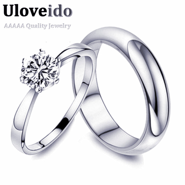 Uloveido Fashion Couple Rings for Men and Women Wedding Band 2017 Silver Color Finger Engagement Ring Jewelry Gift 15% off J063
