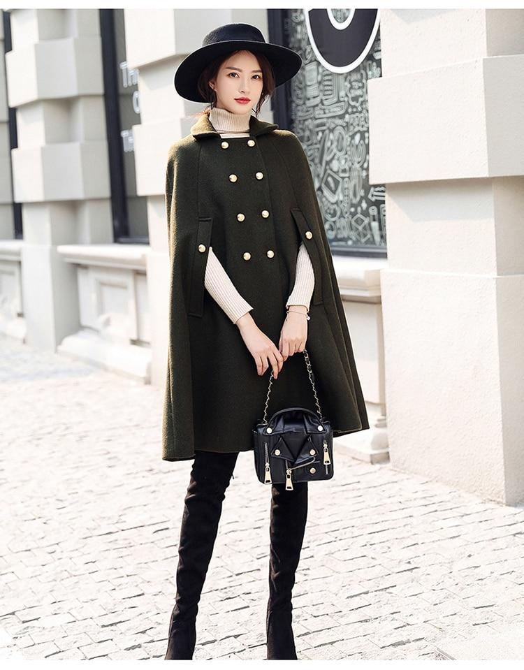 1f1bc971bccb Women Jacket 2018 New Fashion Warm Woolen Cloak Army Green Autumn Winter  Loose Cape Wool Coat Poncho Cardigan Cloak Female Is273