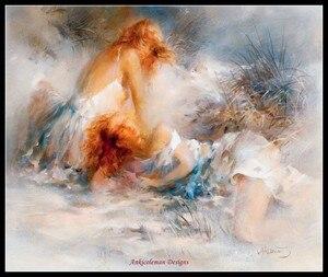 Image 2 - 자수 카운트 크로스 스티치 키트 바느질 공예품 14 ct 중형 diy 아트 수제 장식 흰색 꿈 컬렉션