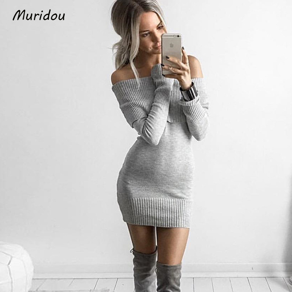 Muridou Casual Slash neck knitted sweater dress women Cotton loose off the shoulder pullover female Autumn winter dress 2017 cute off the shoulder lemon dress for women