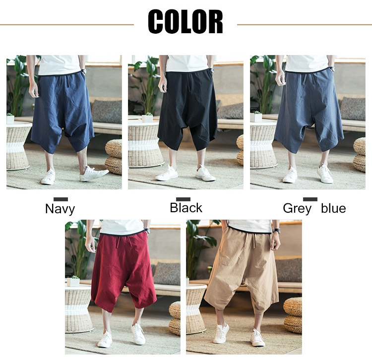 MRDONOO Men Pants Men's Wide Crotch Harem Pants Loose Large Cropped Trousers Wide-legged Bloomers Chinese Style Flaxen Baggy 92