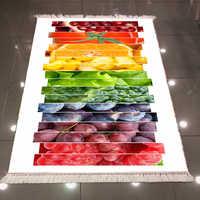 Suelo blanco en rodajas frutas uva tomate naranja 3d microfibra antideslizante espalda lavable decorativo alfombra de área de cocina