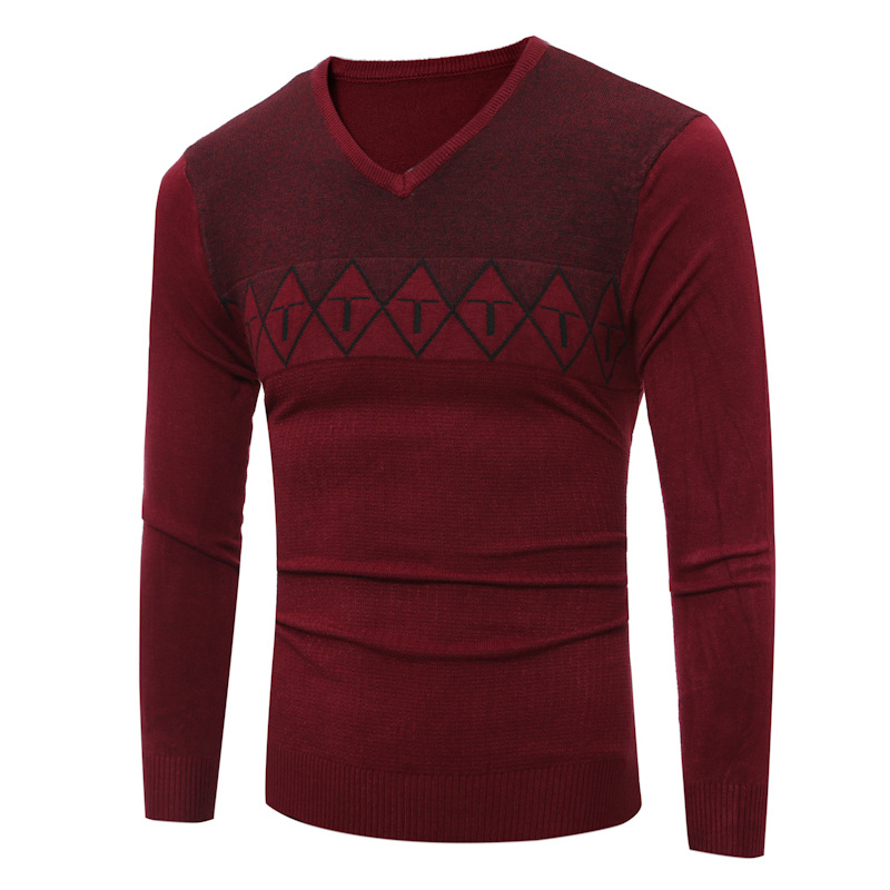 The Spring And Autumn Men's New Sweater Mens V Europe Youth Male Collar Men's Sweater
