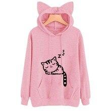 Female Women Casual Hoodies Sweatshirt Long Sleeve Hoody Cat Cute Ears Printed Hoodies Tracksuit outerwear Sweatshirt