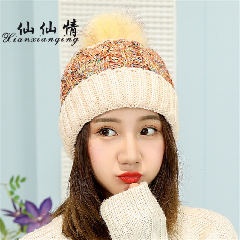 XIANXIANQING 2017 Winter Hat For Women Beanie Faux Fux Hair Ball Lady's Caps Womens Hats Knitting Wool High Fashion Cap m8516 2017 new wool grey beanie hat for women warm simple style bad hair day knitting winter wooly hats online ds20170123 x24