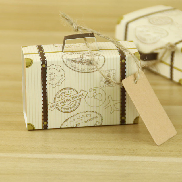 100pcs Lot Mini Suitcase Bonbonniere Wedding Favors And Gifts Chocolate Bo With Jute